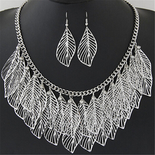 Luxury Leaves Statement Maxi Necklace & Earrings Women's Jewelry Set