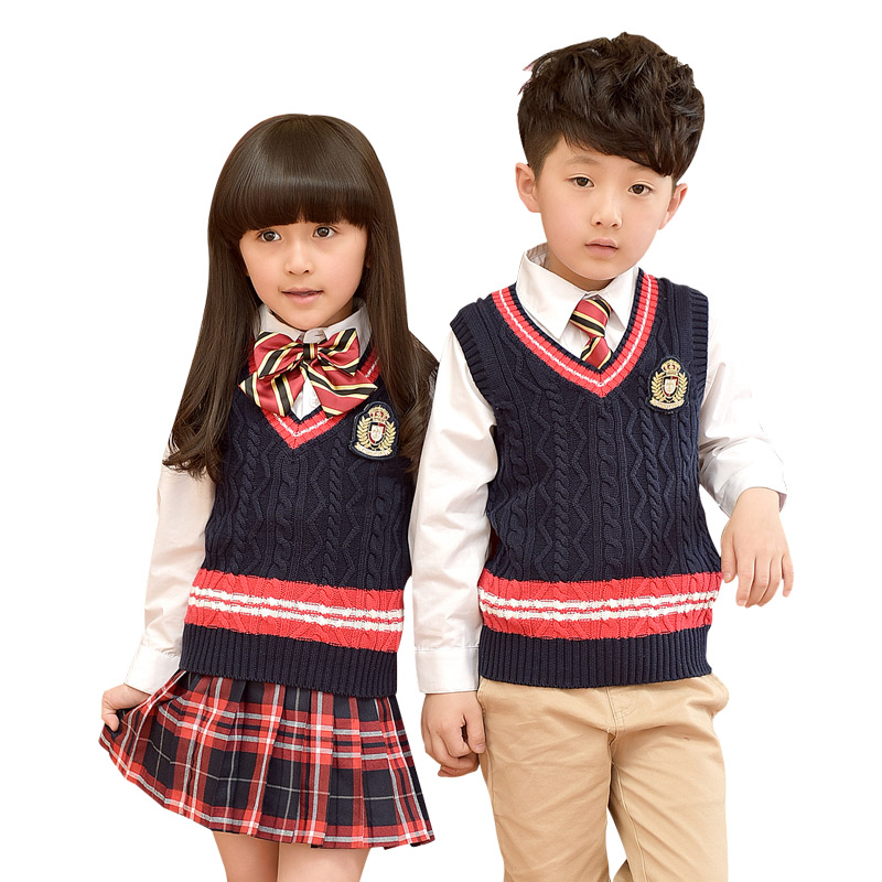 Children Uniform Cotton Fashion Student School Uniforms Girls Boys Cotton Long Shirt Dress Sweater Pants Tie Set Uniforms 3-10T