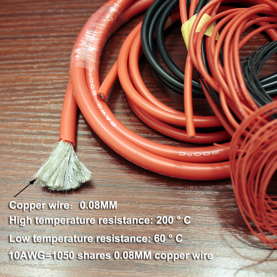 Купить с кэшбэком 5M/lot Extra soft high temperature resistant silicone wire RC wire 8 10AWG 12 14 16 18AWG 20 22 24 26 Red Black