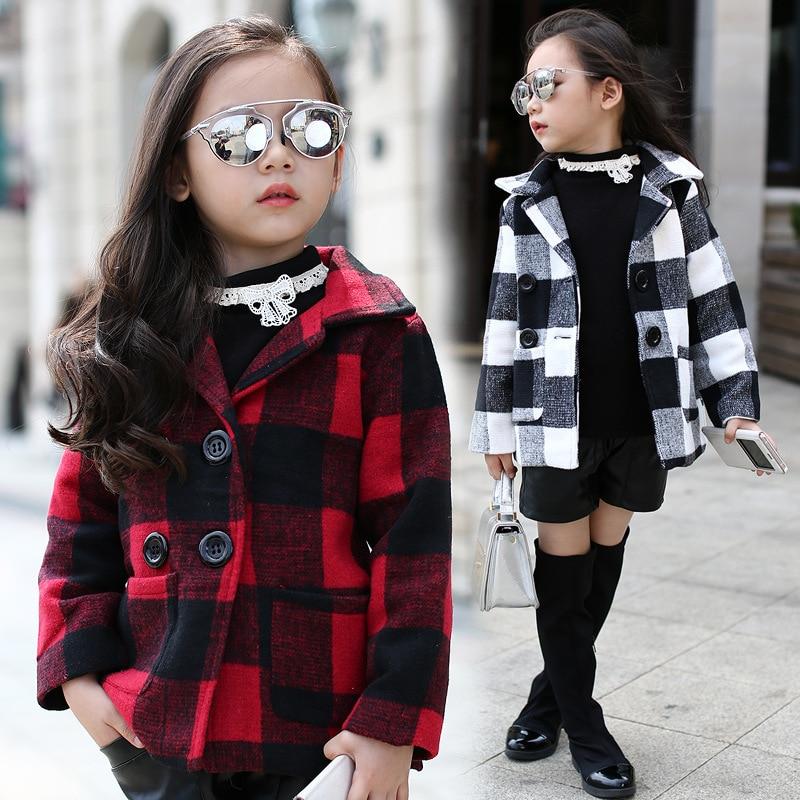 ФОТО Kids girls spring / autumn plaid jacket 2017 new baby girls clothing fashion woolen coat 4/5/6/7/8/9/10/11/12/13 years