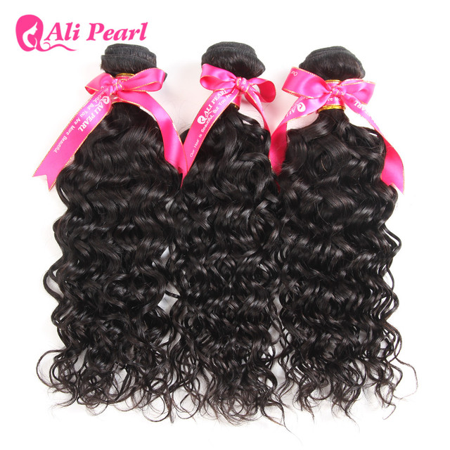 Ali Pearl Hair Water Wave Human Hair Bundles Brazilian Hair Weave 3 Bundles Natural Black Remy Hair Extensions Free Shipping by Ali Pearl