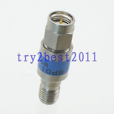 Attenuator SMA plug to Jack pin 2W 10dB DC-6.0GHZ RF coaxial Stainless steel 50. 2w sma rf blocking filter dc block connector dc 8g
