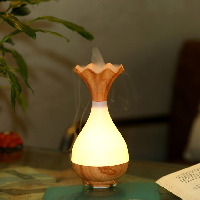 Freeshipping 95ml Wooden Vase Decorative Essential Oil Diffuser Usb Evaporative Humidifier Magic Big Mist Fogger With
