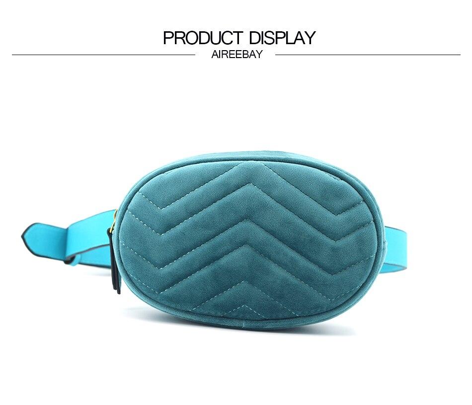 9593024dd2a0 AIREEBAY Waist Bag Women Velour Sky Blue Fanny Pack Bags Female Classic  Brand Designer Fashion Retro Leather Velvet Belt Bag