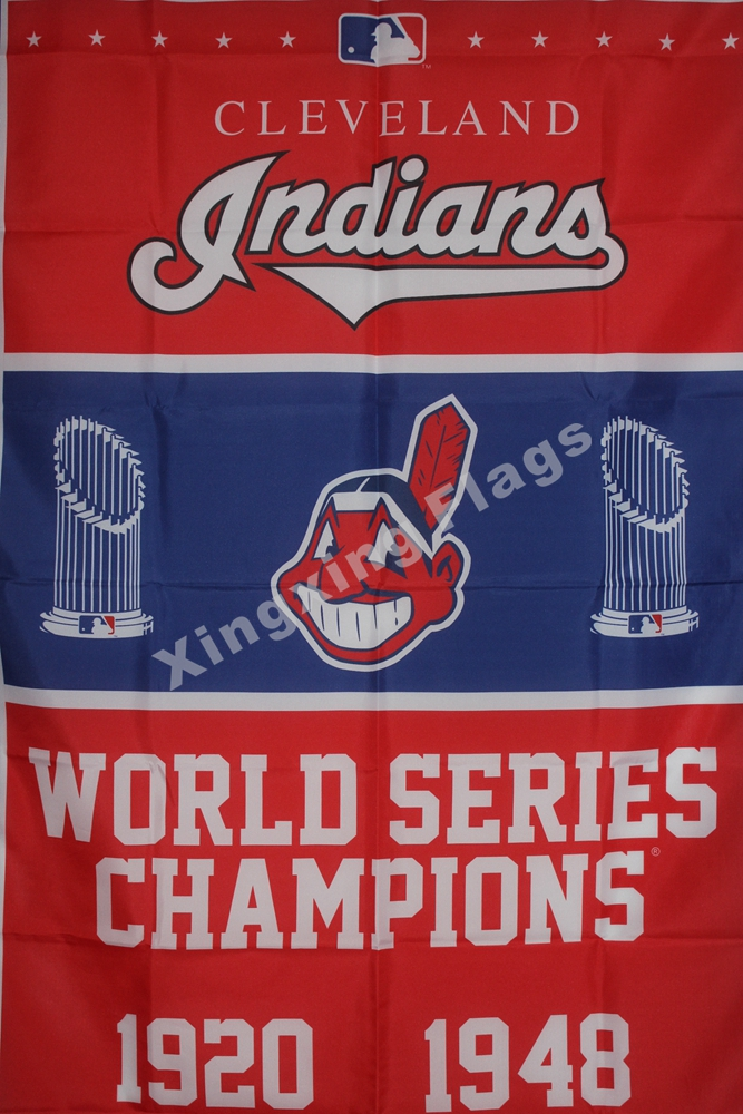 Cleveland Indians World Series Champions Flag 3ft X 5ft Polyester MLB Banner Flying Size No.4 144* 96cm Custom Flag