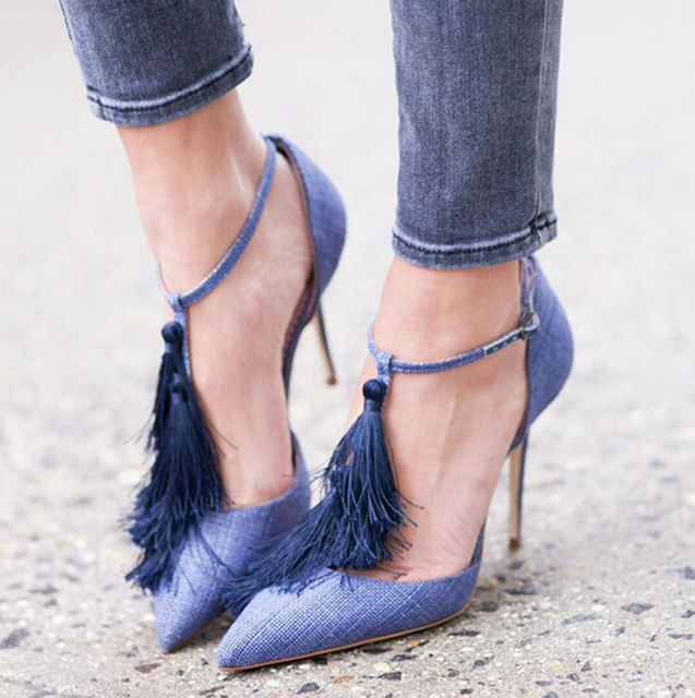 Brand Denim Dark Blue Tassel Sandal Spring-Summer Fringe Shoes High Heels Woman Sexy Ladies Fashion Pumps 2016 Zapatos Mujer