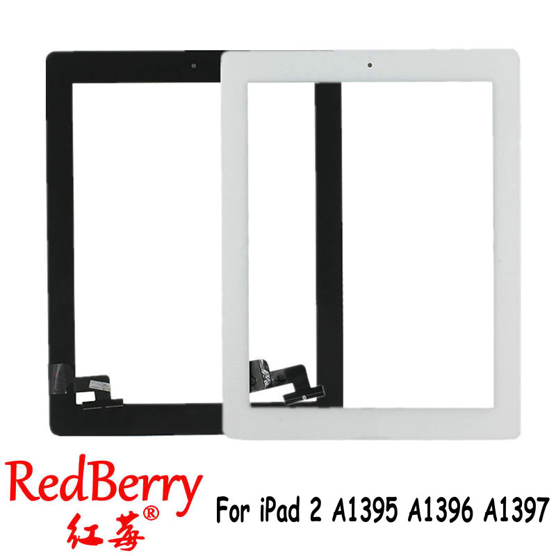 Redberry Touch Screen Glass Digitizer Replacement + Home Button+adhesive for iPad 2 A1395 A1396 A1397 Assembly Free Shipping replacement touch screen digitizer glass for lg p970 black