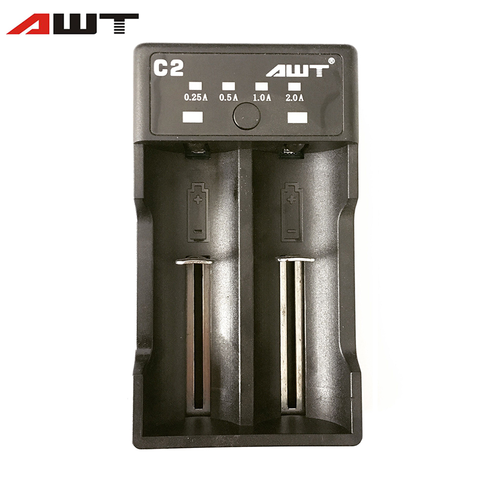 AWT Battery Charger C2 LCD USB Charger 2 Slots 18650 Battery Smart Charger for 18350 26650 21700 20700 18500 14500 Battery T015