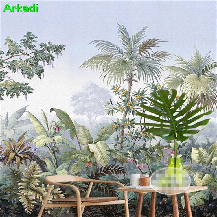 Southeast Asian Style Hand Painted Tropical Rainforest Banana Leaf Green Forest Landscape Background Wallpaper Living Room