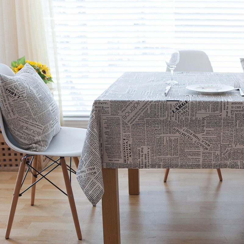 Image 3 - Creative Letter Print Cotton Tablecloth Dustproof Thicken Rectangular Table Cover tafelkleed Wedding Party Kitchen Home Decor-in Tablecloths from Home & Garden
