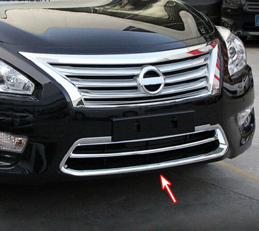 AX Chrome Front Mesh Grille Lower Bumper Cover For Nissan Altima Teana 2013 2014 2015 Trim Molding Frame Bezel Garnish Styling for nissan teana altima 2013 2014 2015 abs chrome front bottom grill cover grilles trim cover car styling accessories
