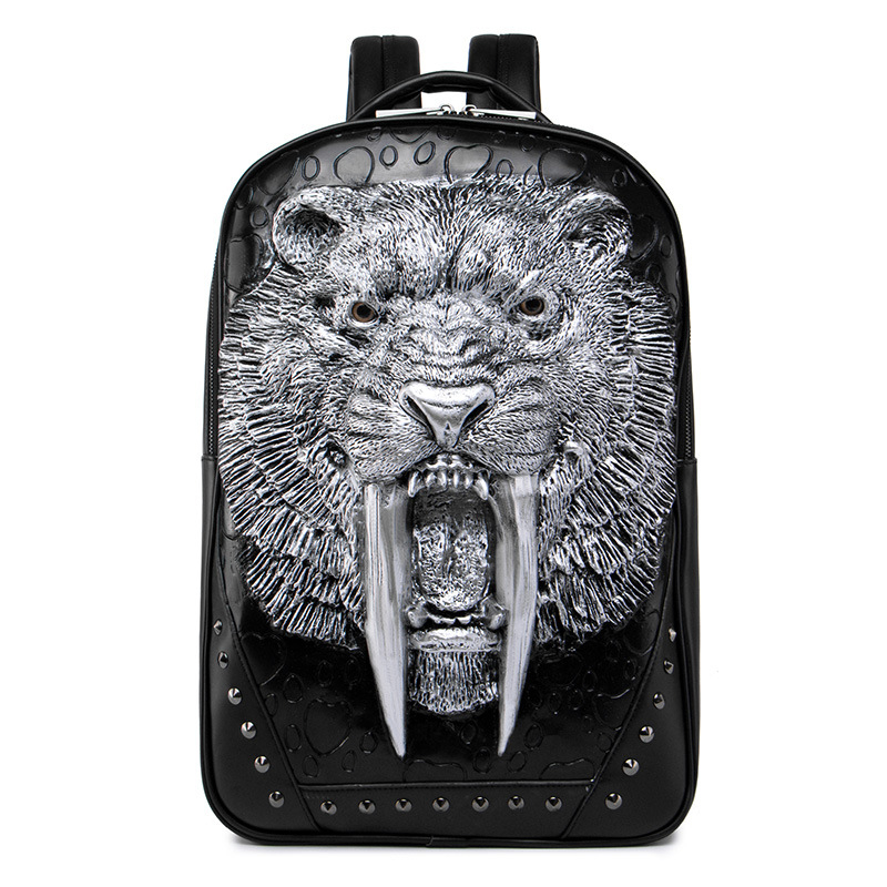 Personality 3D Animal Leather Backpack New 2018 Fashion Rivets Backpack PU Leather Black Laptop School Bags Women Shoulder Bag