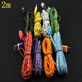 500pcs 2M High Quality 10Colors Flat Braided Fabic Woven Wire for iPhone 5 5s 6 6Plus 8pin Data Syn Charging Charger Cable Cords