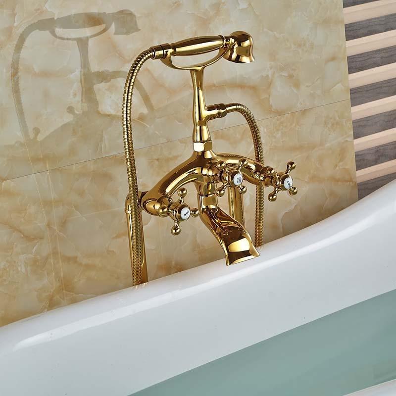 Modern Freestanding Dual Cross Handles Bathtub Faucet Tub Filler ...