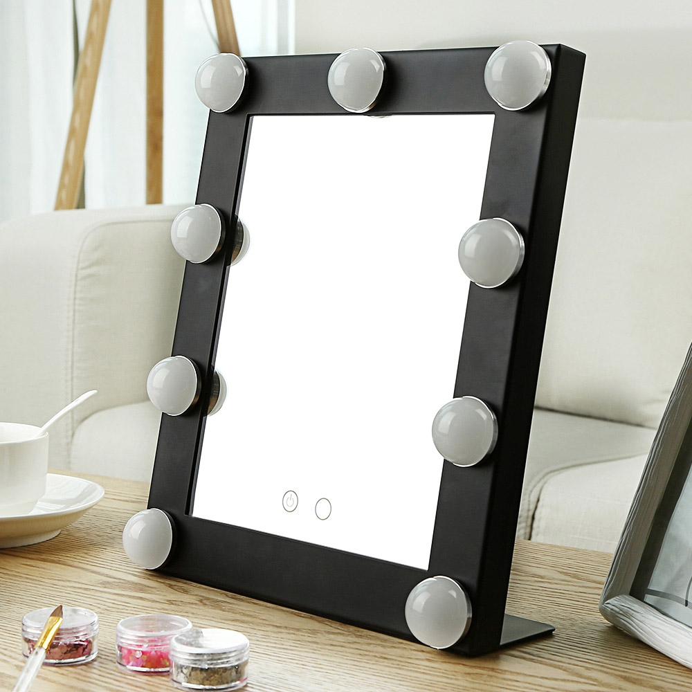 Makeup Mirror with 9 LEDs Cosmetic Mirror with Touch Dimmer Switch Battery Operated Stand for Tabletop Bathroom Bedroom Travel