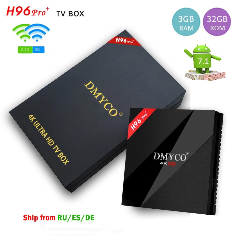 TV Box Android 7.1 H96 Pro Plus Amlogic S912 Octa Core 3G 32G 5G WIFI BT 4.1 H.265 4K 1000LAN H96Pro+ Smart TV Media Player genuine beelink gt1 ultimate tv box android 7 1 amlogic s912 octa core ddr4 smart tv box bt 4 0 5g wifi android tv tv box