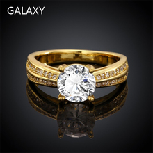 Galaxy nueva moda Real 24 K oro amarillo llenó el anillo de compromiso flechas 2 Carat Diamond CZ circón anillos de bodas para para YH548