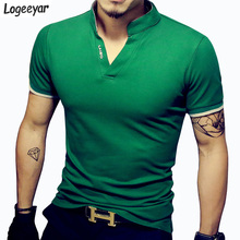 Hot Sale Fashion Solid V Neck Men s T Shirt 2016 Summer Short Sleeve Casual T
