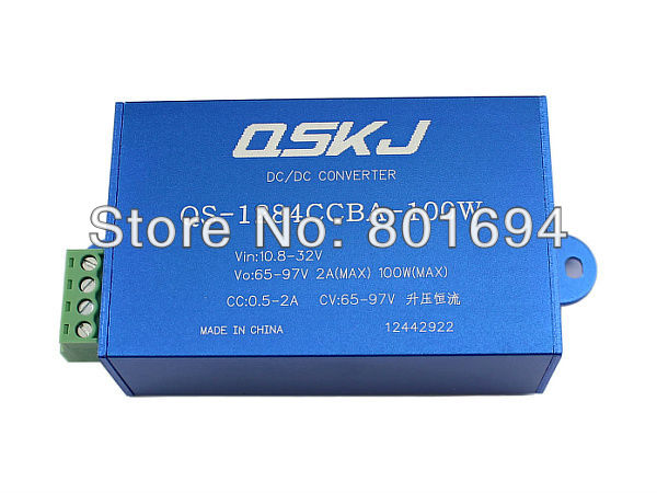 DC Boost Converter Car LED Laptop Power Supply Module Constant Current Voltage,input:10.8-35V output:65-97V 100W spe 100w 12v 100w 8 3a led power supply converter black