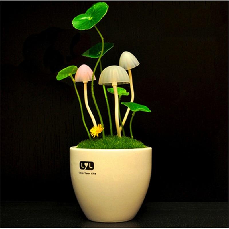 Sensor Controller LED Night Light Potted Plant Style Ceramics Shell Home Lights 110V 220V EUUS Plug Table Lights Mushroom Lamp