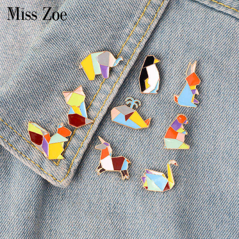 9st / set Origami Kanin Elephant Bear Fox Ekorre Swan Brooch Button Pins Denim Jeans Emalje Pin Badge Tecknad Smycken Present
