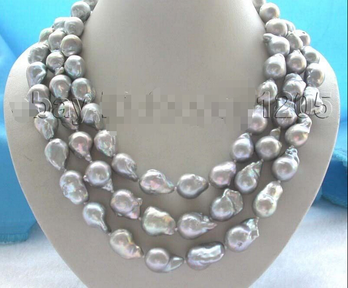 3rows genuine Natural 20mm Gray Reborn Keshi Pearl Necklace 925sc mabe pearl (A0516) -Top quality free shipping