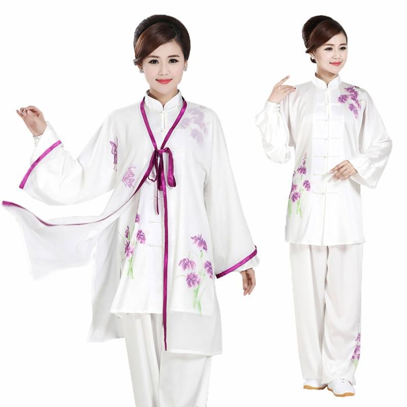 Custom Made Womens Girls  Rayon Tai Chi Kung Fu Clothing Painted Taiji Wushu Suits With Mantillas Three-Pieces Set