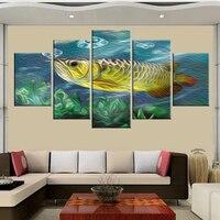 무료 배송 5 캔버스 유화 아로 다이빙 물고기 시리즈 인쇄 포스터 벽 아트 이미