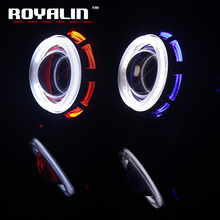 ROYALIN 2PCS Motorcycle Headlight Lens H1 CCFL Twin Angel Eyes Xenon Halogen Universal Projector for H4 H7 Front High Low Beam