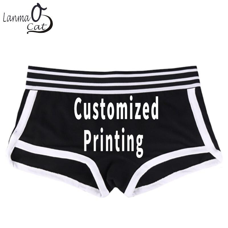 Lanmaocat Women Cotton Boyshorts   Panties   Women Custom Print Cotton Boxer Shorts Personal Design Boxer Shorts XXL Free Shipping