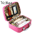 Sexy Women Cosmetic Suitcase Mini Leopard Pouch Beautician Trolley Cute Travel Vanity Beauty Make Up Organier Bag