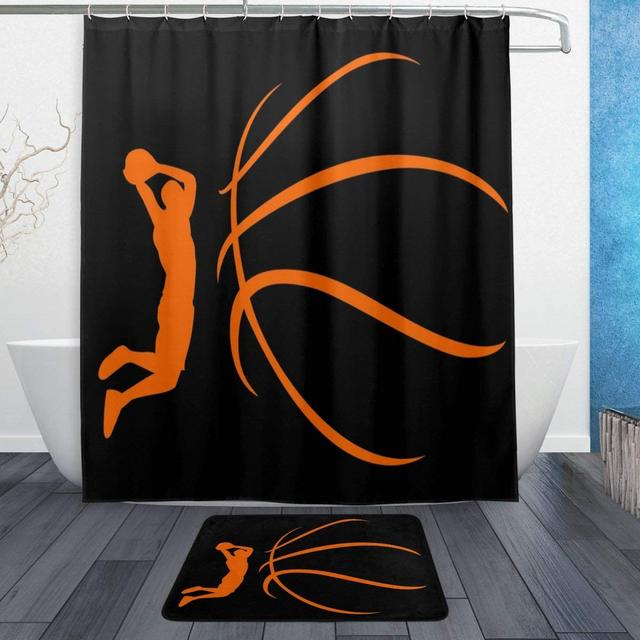 Orange Basketball Player Black Shower Curtain And Rug Set Waterproof Polyester Bath Mat Bathroom