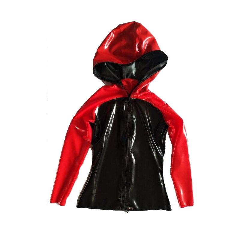 Nouveau Style 100% Latex caoutchouc hommes à capuche décontracté noir et rouge veste de sport avec fermeture à glissière 0.4mm XXS-XXL