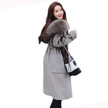 2018 Autumn Winter Fashion Women New Medium long The high-end temperament Loose large yards cashmere Coat woolen coat LU433