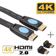 3m/5m/10m HDMI 2.0 Cable Audio Video Cable Cord High Speed HD 4K x 2K Flat HDMI Cable Male to Male + 90/270 Degree Adapter