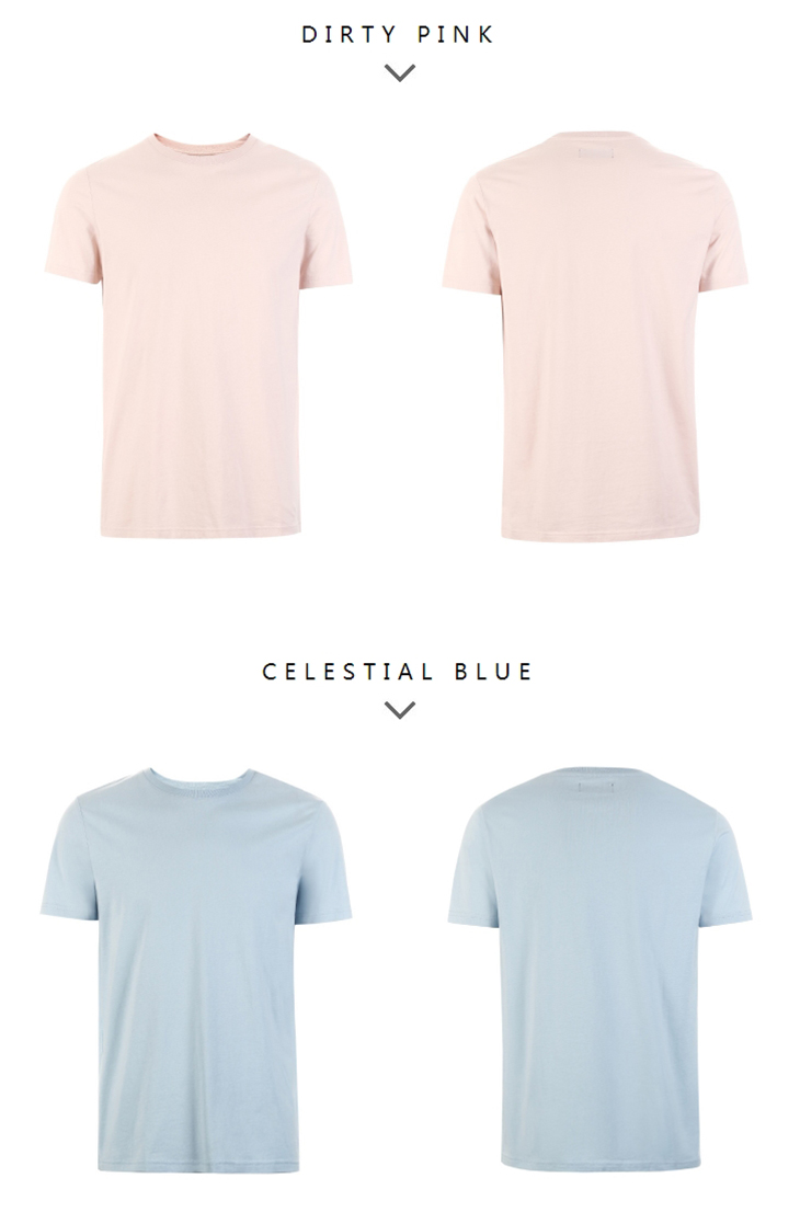 Men's Summer 100% Cotton Pure Color Round Neckline Short-sleeved T-shirt 78