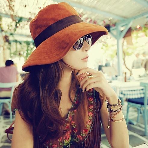 2015 recién llegado de brown orange pajarita causales gorras de pesca mujer Premium Visera Sombreros de Sol de La Vendimia de Bohemia Casquillo de la Playa del Envío gratis