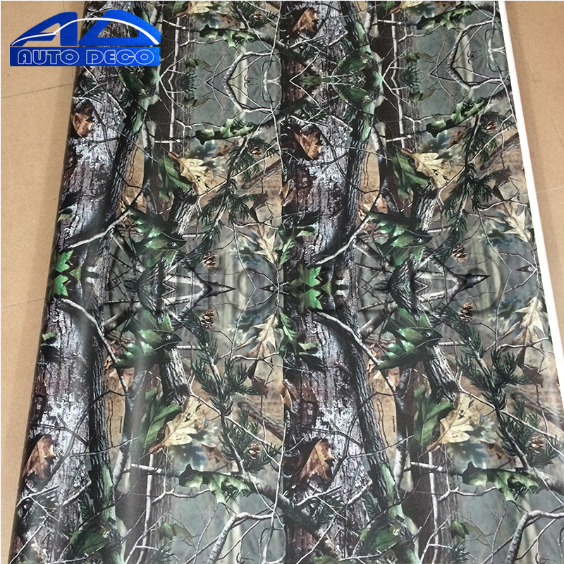 Jumbo Real Leaf Tree Camo Vinyl Real Tree Camouflage Adhesive Car Styling Wrap Film Full Body Car Sticker or fabric camouflage leaf headgear