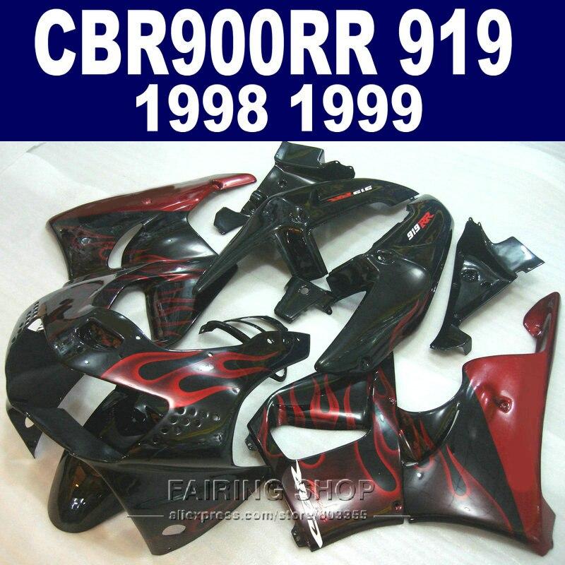 Fairings Red flames CBR900 RR 919 1998 1999 For honda Fairing kit cbr 900rr 98 99