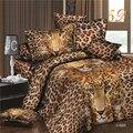 2016 новое поступление 3d постельного белья леопарда напечатаны 4 шт. постельное белье наволочки простыня пододеяльник комплект