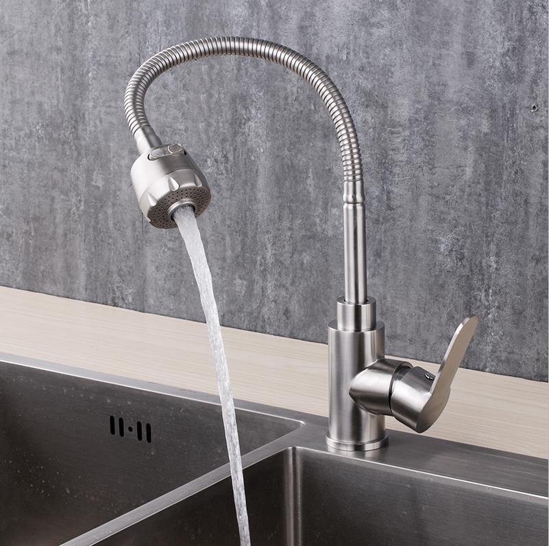 Évier de légumes robinet de cuisine robinet de lavage 304 en acier inoxydable chaud et froid avec 2 tuyaux