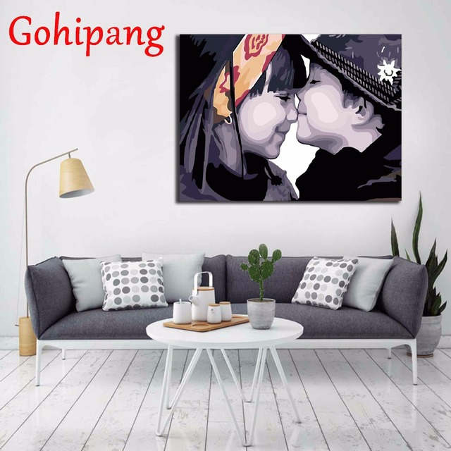 friends whisper digital oil painting home decor wall art living room painting by numbers oil paintings - Living Room Paintings