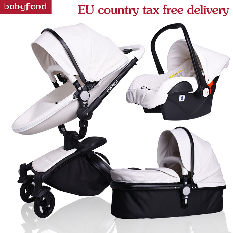 2019 Hot Sell Baby Strollers 3 In 1 Baby Stroller Leather Newborn Baby Pram Gold Black Basis Free Ship USA Free Gifts