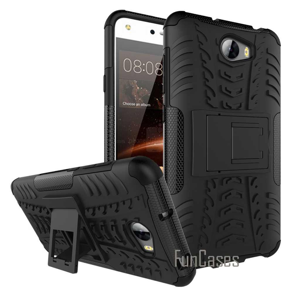 Per Il caso di Huawei Y5 2 Y5II Y5 II PC + Silicone A Doppio Strato Anti-Shock Robusta Combo Armatura Militare 3D per Il caso di HUAWEI Y5 II Del Basamento)
