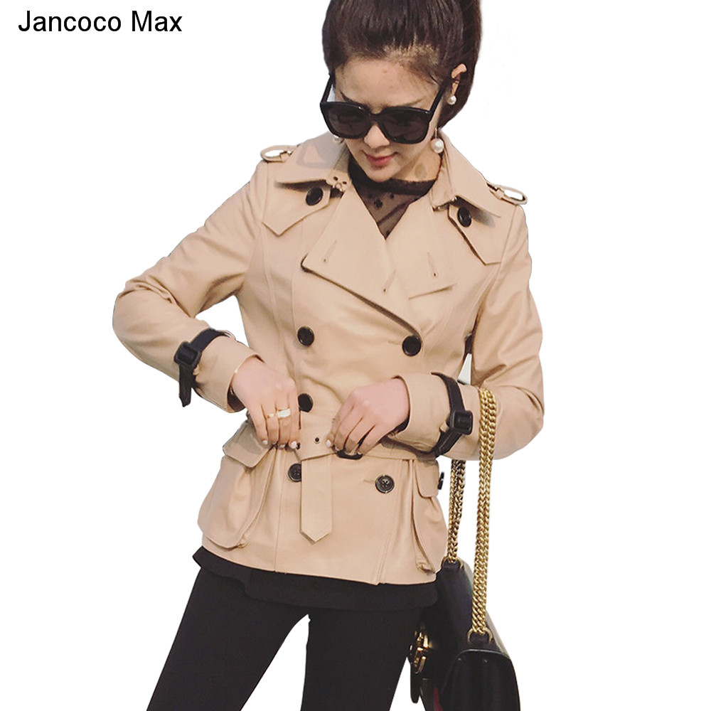Jancoco Max 2018 Spring Genuine Sheepskin Leather Jacket Women Fashion Coat Real Leather New Arrival S8002