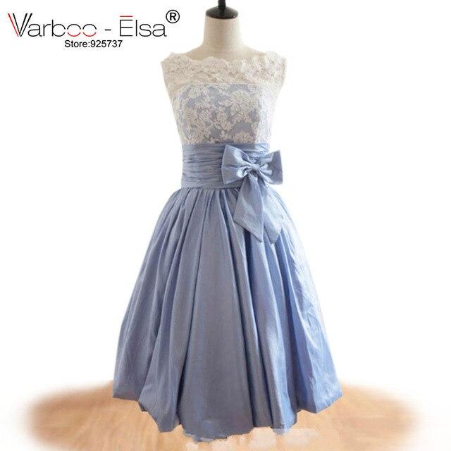 61119a75969c 2018 заказ красивый голубой Подружкам невесты кружевные короткие мини  нарядное платье тафта платья подружек невесты