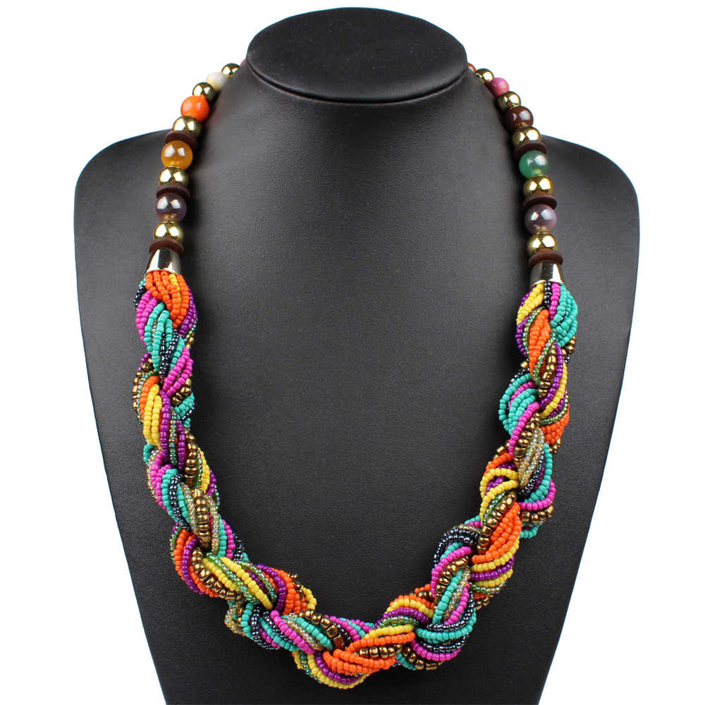 Claire Jin Bohemian Bead Necklace Colorful Women Boho Jewelry Strand Multi  Layer Twisted Summer Fashion Vintage Ethnic Necklaces|vintage  jewelry|fashion jewelryjewelry fashion - AliExpress