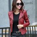 Куртки женщины с длинными рукавами кожаная куртка развивайте нравственность короткий MS маленький костюм кожаные большие ярдов из кожи женщин куртки