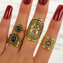 Hot Vintage Elephant Midi Rings Set For Women Tibetan Antique Color carved Black Stone Feather CrownBoho Ring Jewelry(China)