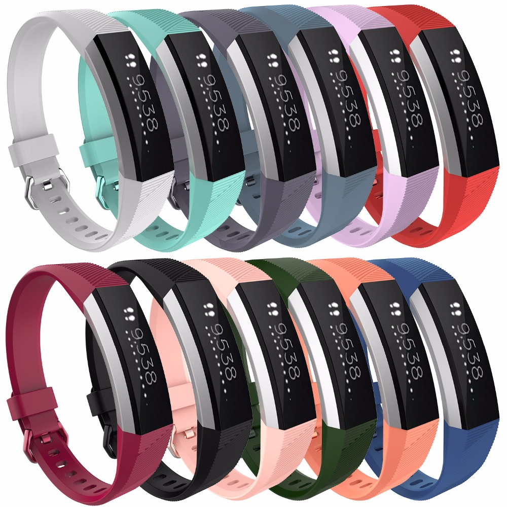 DHL 100pcs lot Soft Silicone Sports Wrist Strap Bracelet Replacement Watch Band for Fitbit Alta HR